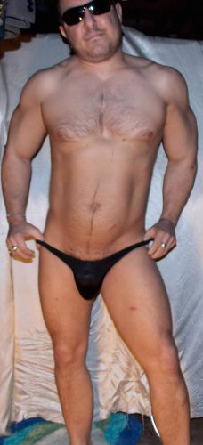 "Sexy 'Wet Look' (L 27 -29"") Black Ice low-rise muscle swim brief *NEW* -Free S&H"