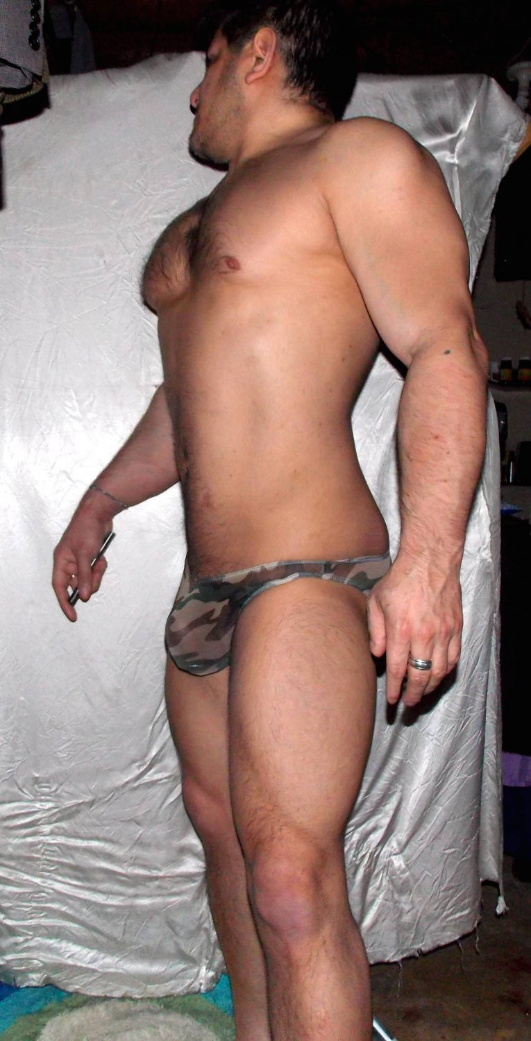 "Ultra-Thin (L 26 - 31"") Super-low-waist Sheer Mesh Muscle CAMO Briefs"