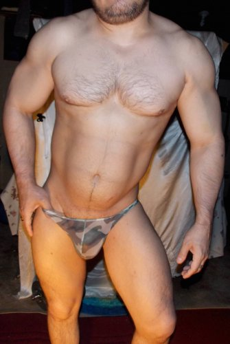 "Ultra-Thin (XL 30 - 35"") Super-low-waist Sheer Mesh Muscle CAMO Briefs"