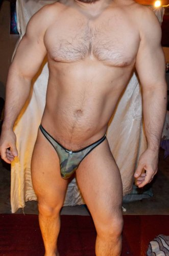 "*!NOT AVAILABLE NOW!* Camouflage thong (L 28 - 32"") Super-low-waist sexy Muscle CAMO Briefs"