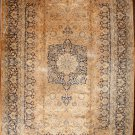 Oriental Rug  Antique 1900s Persian Mashhad Orange Beige Background Navy Blue Medallion Border