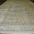 Oriental Rug  Antique 1900s Persian Kerman Lavar Beige Background Light Blue Border  All Over Design