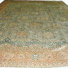 Oriental Rug  Antique 1900s Persian Tabriz Light Blue Background Salmon Border  All Over Design