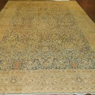 Oriental Rug  Antique 1900s Persian Mashhad Light Navy Blue Background Beige Border  All Over Design