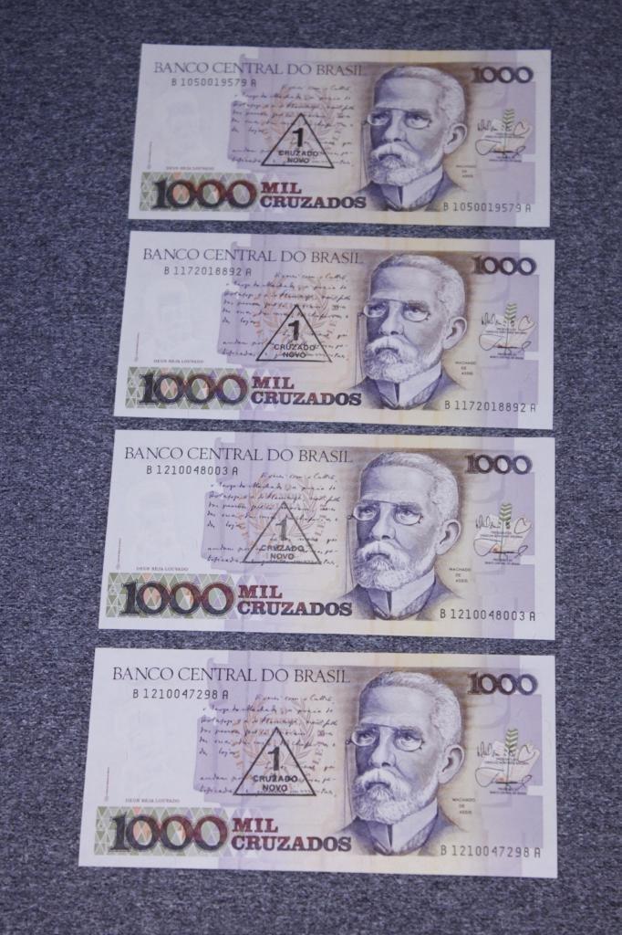 Set of 4 Banco Central Do Brasil 1000 mil cruzados