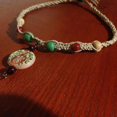 Hemp Necklace w/Teal & Marron beads & Handcrafted Pendant