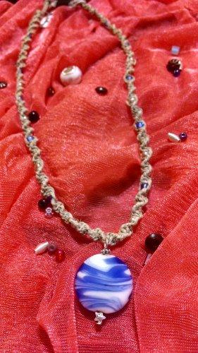 Hemp Necklace w/ Blue & White  Pendant