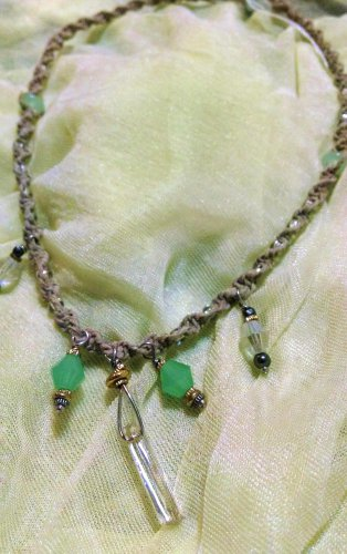 Hemp Necklace w/ Green & Clear Crystal Shaped Pendants