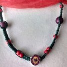 Green Hemp Necklace w/ Red & Purple Beads, Flower Pendant