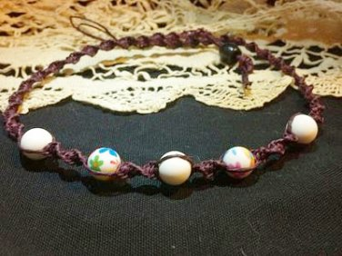 Purple Hemp Necklace w/ White Floral Beads
