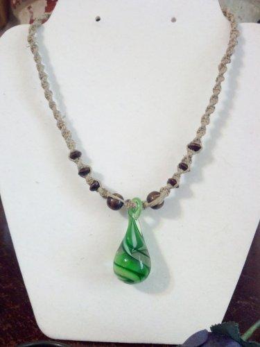 Hemp Necklace w/ Green Glass Teardrop Pendant