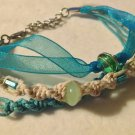 Hemp Bracelet w/ Blue Ribbon & Green Beads
