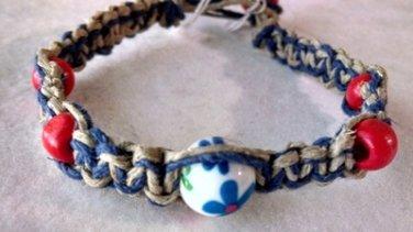 Blue & Natural Hemp Bracelet