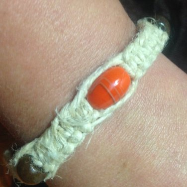 Hemp Bracelet w/ Orange & Brown Beads