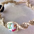 Hemp Bracelet/Anklet w/ Blue and White Painted Beads