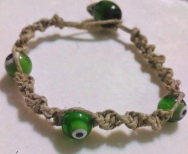 Hemp Bracelet w/ Green Eye Beads