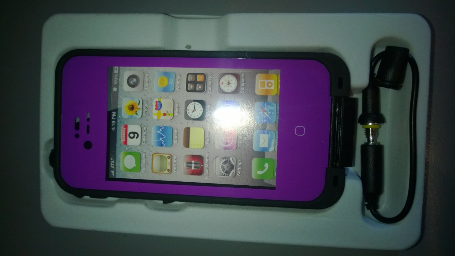 Waterproof, Snow proof, Shock Proof, Case for Apple IPhone 4/4s Purple