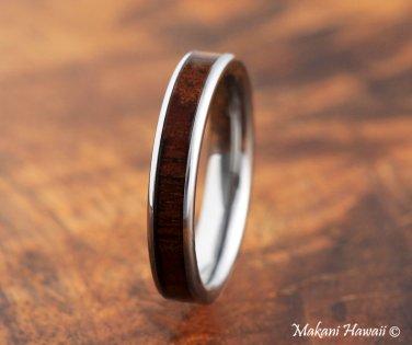 Koa Wood Tungsten Wedding Ring Flat 4mm