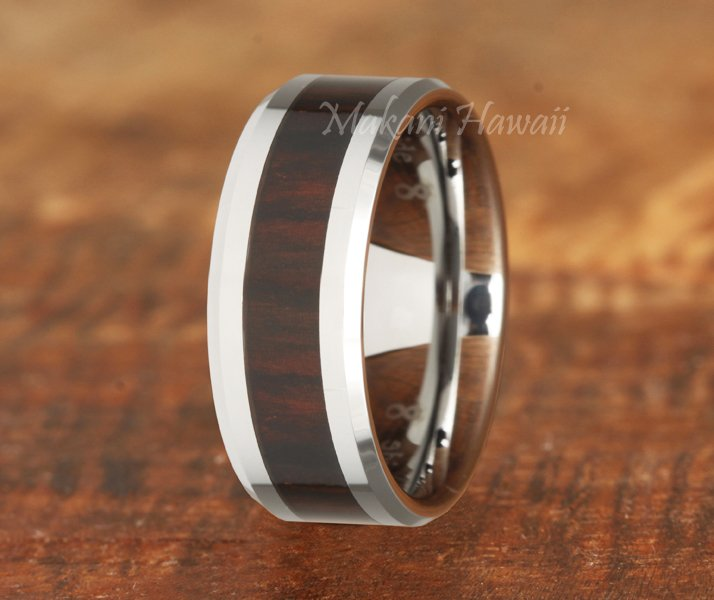 Tungsten Red Wood Inlaid Mens Wedding Band (Dark Red) 8mm