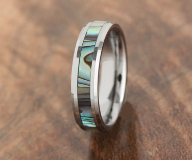 Tungsten Abalone Inlaid Wedding Ring 5mm