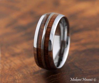 Koa Wood Tungsten Double Row Wedding Ring 8mm