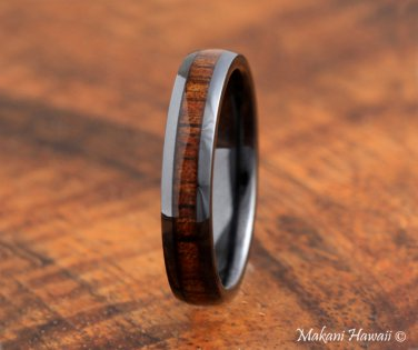 High Tech Ceramic Koa Wood Inlaid Wedding Ring Oval 4mm