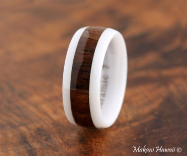 High Tech White Ceramic Koa Wood Wedding Ring Oval 8mm