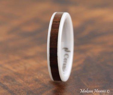 High Tech White Ceramic Koa Wood Wedding Ring Flat 4mm