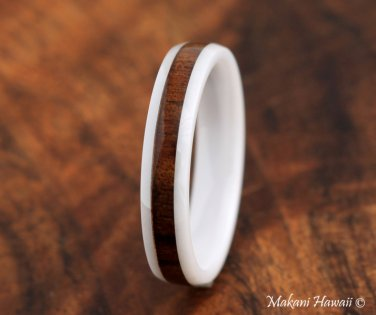 High Tech White Ceramic Koa Wood Wedding Ring Oval 4mm