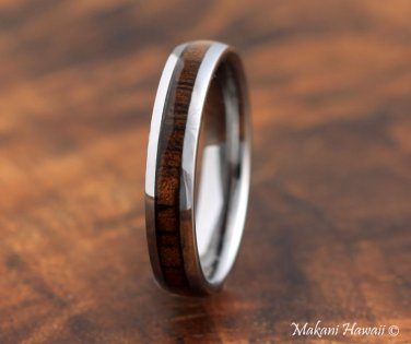 Tungsten Koa Wood Wedding Ring Oval 4mm