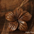 40mm Koa Wood Hibiscus Flower Necklace KOA1129