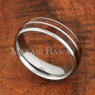 6mm Koa Wood Stainless Steel Wedding Ring Oval Double Row SLR6104