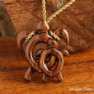 Hawaiian Koa Wood Baby Mom Honu(Turtle) Necklace KOA1108