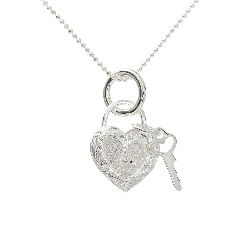 ESP2619 Scroll CZ Heart + Key Pendant