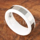 8mm Tungsten White Ceramic Mens Wedding Ring TUR5057