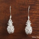 SE26901 Sterling Silver Hawaiian Pineapple Hook Earrings One Tone