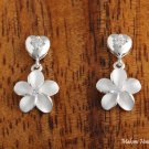 Hawaiian Silver Jewelry Heart CZ+10mm Plumeria Earrings SE29501