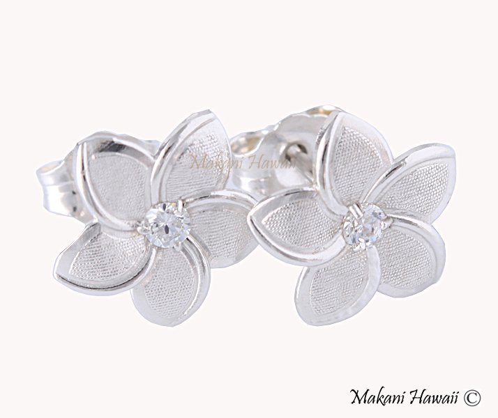 Hawaiian Gold Jewelry 14K White Gold Plumeria Earring 10mm GE2150