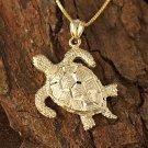 14K Yellow Gold Hawaiian Turtle Pendant Necklace GP3156