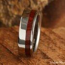 6mm Titanium Cocobolo wood Inlaid Wedding Ring TIR4062