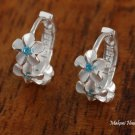 SE27403 3 Hawaiian Plumeria With Blue CZ Solid Silver Earrings Hoop