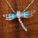 SOP1045 8 Opal CZ Dragonfly Pendant