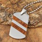 Koa Wood  Stainless Steel Dog Tag Pendant Two Row Diagonal SLP7103