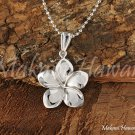 14K White Gold Plumeria Pendant 12mm GP3153