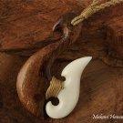 KOA1118 Koa Wood Bone Fish Hook Necklace