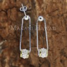 SE42005 Solid Sterling Silver Hawaiian Bead + Barrel Earrings Two Tone YG