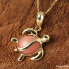 GP3103 Pink Coral Inlaid 14K Solid Yellow Gold Honu Pendant