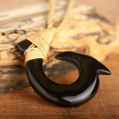 Hawaiian Jewelry Water Buffalo Horn Fish Hook Necklace KOA1104