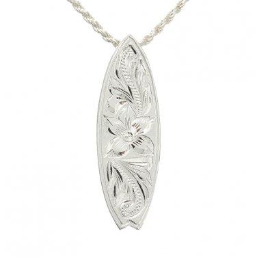 Hawaiian Silver Surfboard Scroll Engraving Pendant (M)Necklace ESP2515