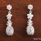 SE26801 Hawaiian Jewelry CZ+6mm Plumeria +Pineapple Earrings